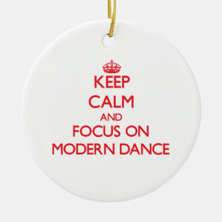 Keep calm and focus on Modern Dance Double-Sided Ceramic Round Christmas Ornament