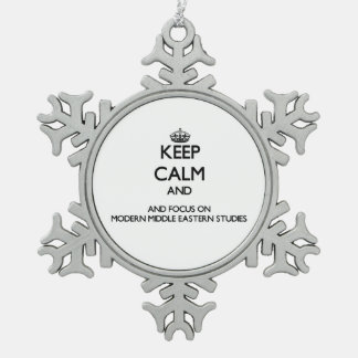 Keep calm and focus on Modern Middle Eastern Studi Snowflake Pewter Christmas Ornament