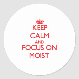 Keep Calm and focus on Moist Classic Round Sticker