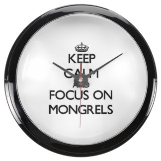 Keep Calm and focus on Mongrels Aqua Clock