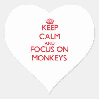 Keep Calm and focus on Monkeys Heart Sticker