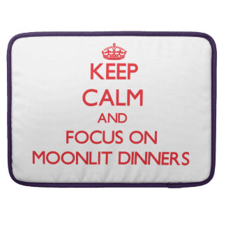 Keep Calm and focus on Moonlit Dinners MacBook Pro Sleeves