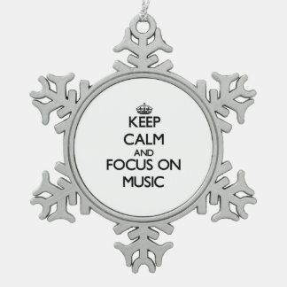 Keep Calm and focus on Music Snowflake Pewter Christmas Ornament