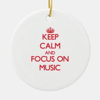Keep Calm and focus on Music Christmas Tree Ornament