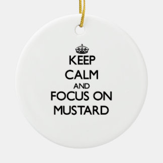 Keep Calm and focus on Mustard Double-Sided Ceramic Round Christmas Ornament