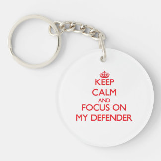 Keep Calm and focus on My Defender Double-Sided Round Acrylic Keychain
