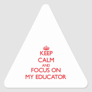 Keep Calm and focus on MY EDUCATOR Triangle Sticker