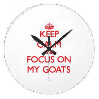 Keep Calm and focus on My Goats Wallclock