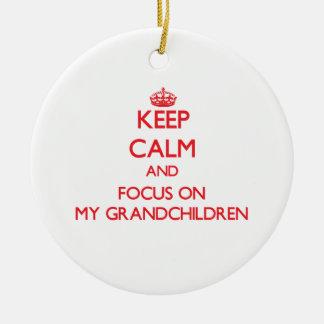 Keep Calm and focus on My Grandchildren Christmas Ornament