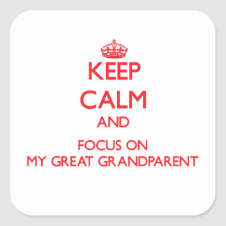 Keep Calm and focus on My Great Grandparent Square Sticker