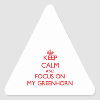 Keep Calm and focus on My Greenhorn Triangle Stickers