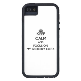 Keep Calm and focus on My Grocery Clerk iPhone 5 Covers