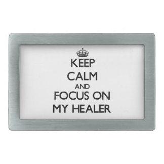 Keep Calm and focus on My Healer Rectangular Belt Buckle