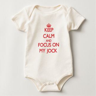 Keep Calm and focus on My Jock Baby Bodysuits