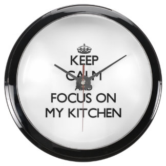 Keep Calm and focus on My Kitchen Fish Tank Clock
