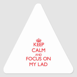 Keep Calm and focus on My Lad Triangle Sticker
