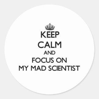 Keep Calm and focus on My Mad Scientist Round Sticker