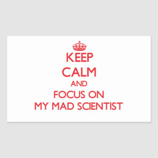 Keep Calm and focus on My Mad Scientist Rectangular Stickers