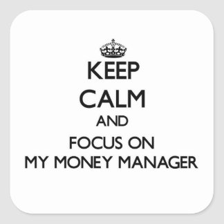 Keep Calm and focus on My Money Manager Square Stickers
