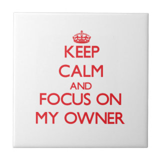 Keep Calm and focus on My Owner Ceramic Tile