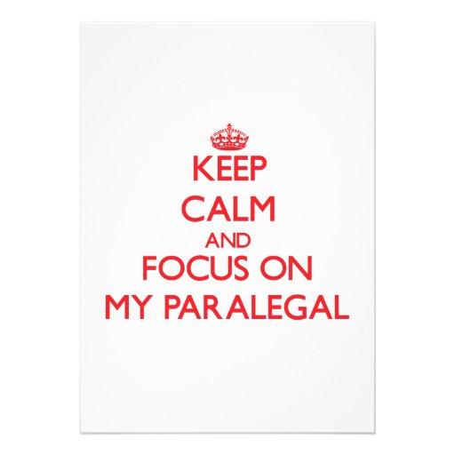 Keep Calm and focus on My Paralegal Custom Announcement
