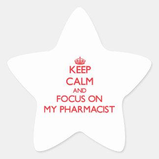 Keep Calm and focus on My Pharmacist Star Sticker