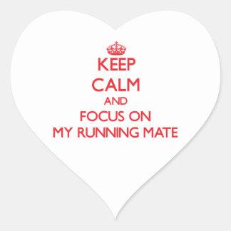 Keep Calm and focus on My Running Mate Heart Sticker