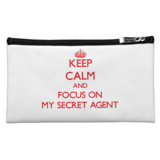 Keep Calm and focus on My Secret Agent Cosmetic Bags