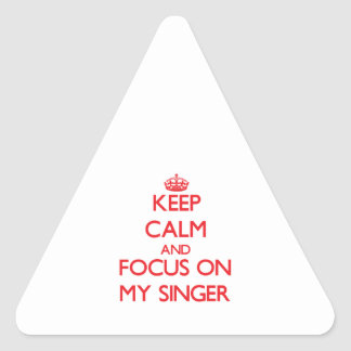 Keep Calm and focus on My Singer Triangle Stickers