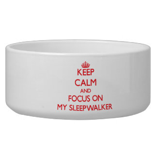 Keep Calm and focus on My Sleepwalker Pet Water Bowl