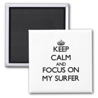 Keep Calm and focus on My Surfer Fridge Magnets