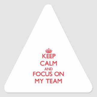 Keep Calm and focus on My Team Triangle Sticker