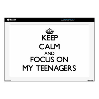 "Keep Calm and focus on My Teenagers 17"" Laptop Skins"