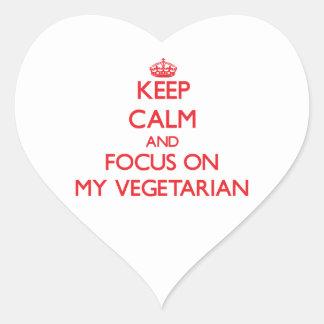 Keep Calm and focus on My Vegetarian Heart Sticker