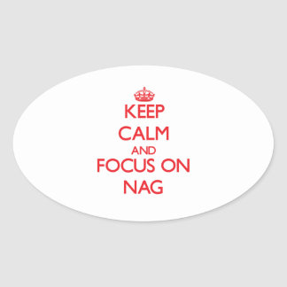 Keep Calm and focus on Nag Oval Stickers