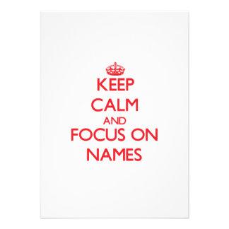 Keep Calm and focus on Names Custom Invitation
