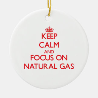 Keep Calm and focus on Natural Gas Double-Sided Ceramic Round Christmas Ornament