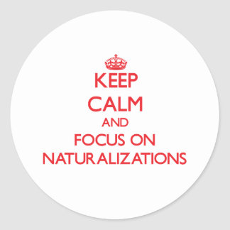 Keep Calm and focus on Naturalizations Classic Round Sticker