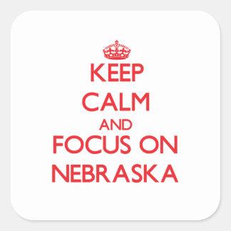 Keep Calm and focus on Nebraska Square Sticker