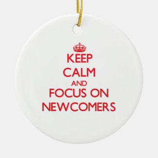 Keep Calm and focus on Newcomers Double-Sided Ceramic Round Christmas Ornament