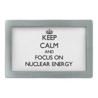 Keep Calm and focus on Nuclear Energy Rectangular Belt Buckles