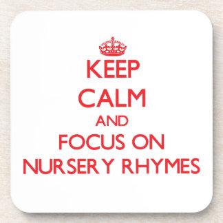 Keep Calm and focus on Nursery Rhymes Beverage Coasters
