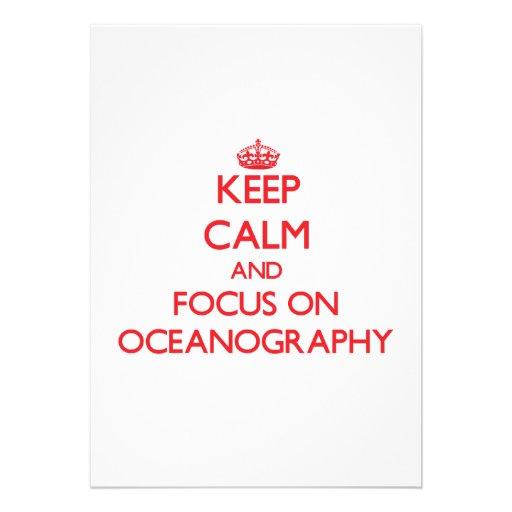 kEEP cALM AND FOCUS ON oCEANOGRAPHY Custom Invitation