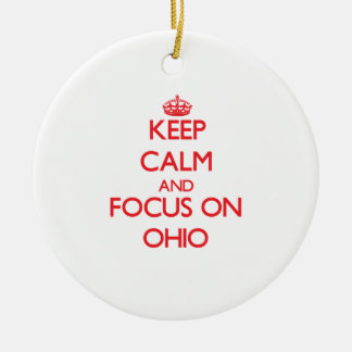 Keep Calm and focus on Ohio Double-Sided Ceramic Round Christmas Ornament