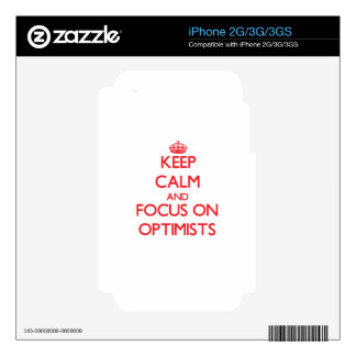 kEEP cALM AND FOCUS ON oPTIMISTS Decal For iPhone 3G