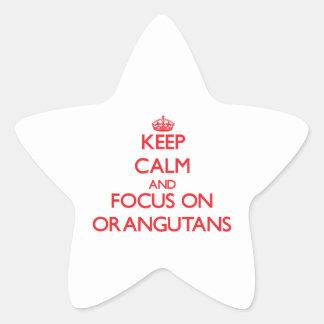 Keep Calm and focus on Orangutans Star Stickers