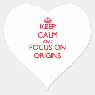Keep Calm and focus on Origins Heart Sticker
