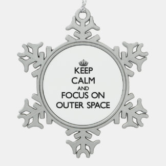 Keep Calm and focus on Outer Space Snowflake Pewter Christmas Ornament
