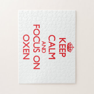 Keep Calm and focus on Oxen Jigsaw Puzzle