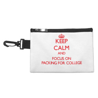 kEEP cALM AND FOCUS ON pACKING fOR cOLLEGE Accessories Bags